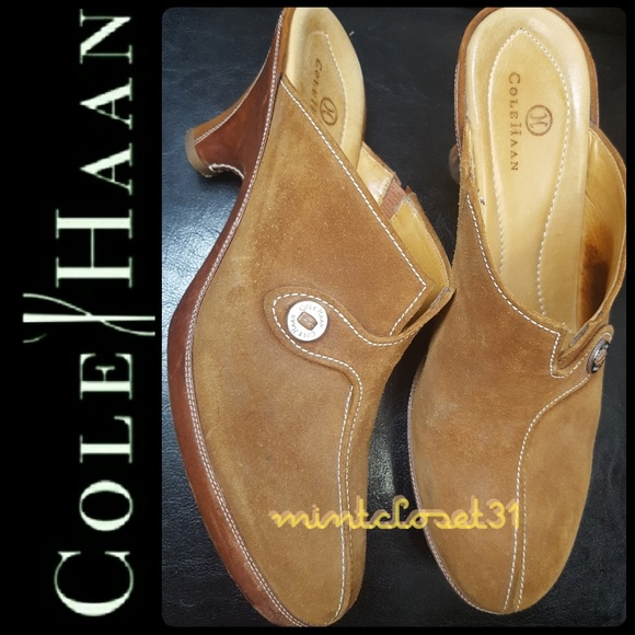 8c15298e5e8 Cole Haan Shoes - Cole Haan Leather Heel Mules